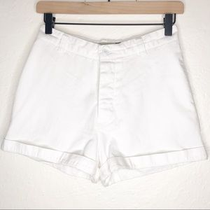Gap White Relaxed Fit Button Fly High Rise Shorts